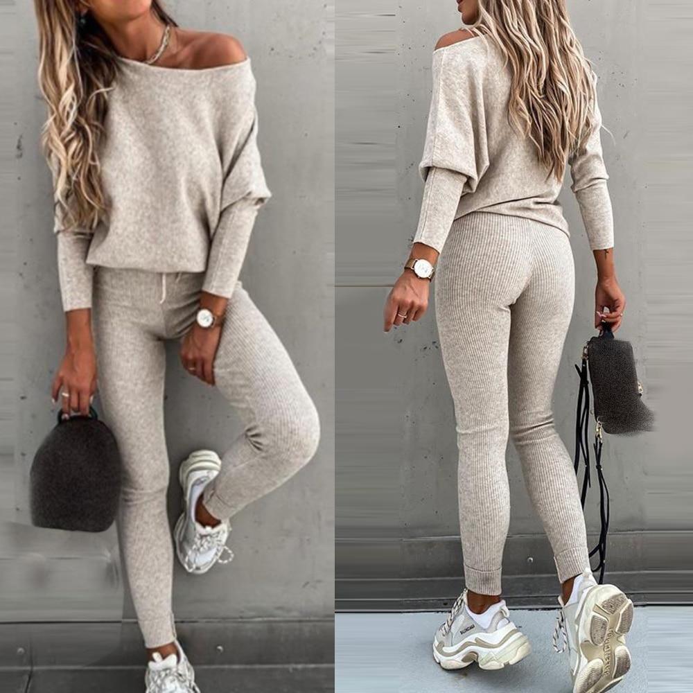 2020 Sportswear Women Fashion Casual Solid One Shoulder Top Long Pants Set Long Sleeve High Waist Drawstring Pants Set