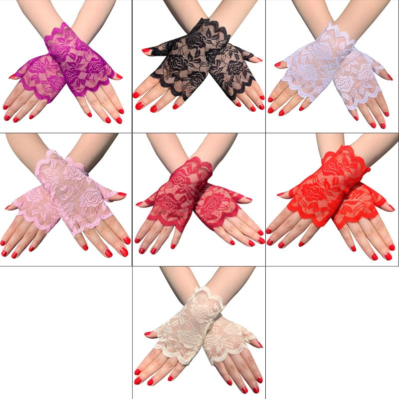 AliExpress - Women Summer Hollow Out Floral Lace Fingerless Gloves UV Sun Protection Driving Short Half Finger Mittens Scar Cover Up