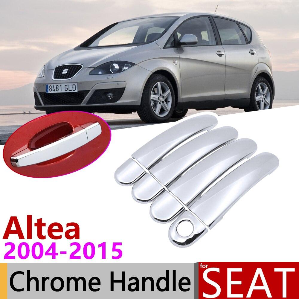Para Seat Altea 2004 ~ 2015 cubierta cromada de manija de puerta accesorios de coche pegatinas Set de molduras 2005, 2006, 2007, 2008, 2009, 2010, 2011, 2013, 2014