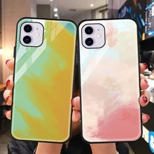 Tempered Glass Cover For iPhone 11 Case Watercolored Cover For iPhone 12 11 Pro Max 7 6S Plus X XR X