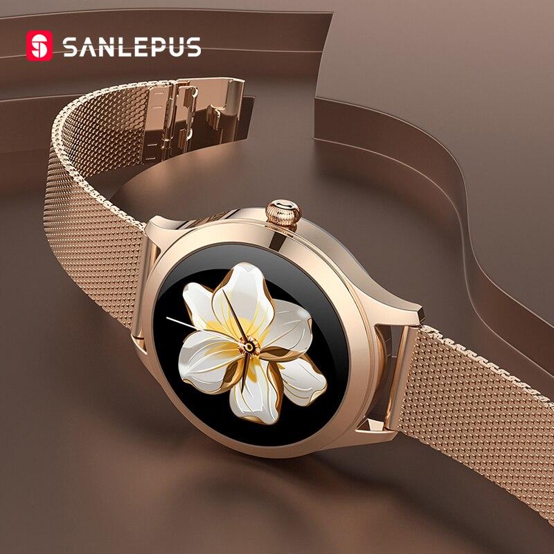 SANLEPUS-ساعة ذكية من الفولاذ المقاوم للصدأ للنساء ، ساعة يد أنيقة وغير رسمية للفتيات ، لهواتف Android و iOS ، 2021