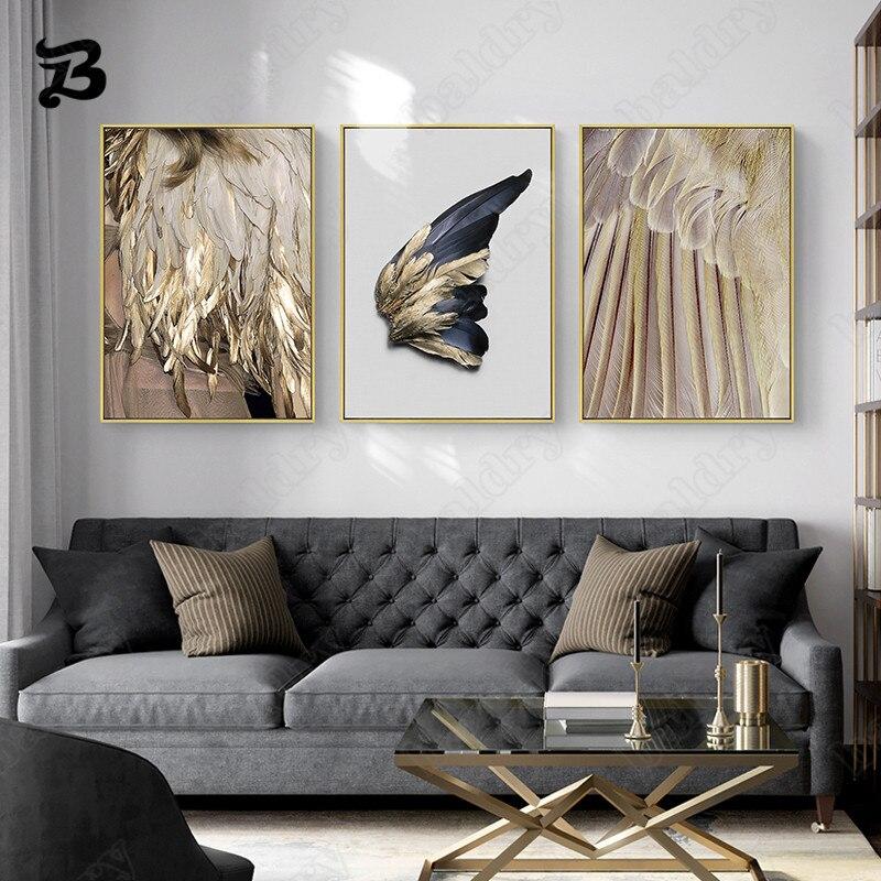 Картина на холсте для гостиной, модные современные настенные постеры с крыльями перьев и абстрактным изображением женщины, маска, плакаты и...