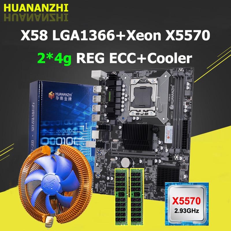 HUANANZHI X58 اللوحة الأم مع زينون CPU E5 X5570 2.93GHz CPU برودة العلامة التجارية RAM 8G 2*4G REG ECC بناء الكمبيوتر 2 سنة الضمان