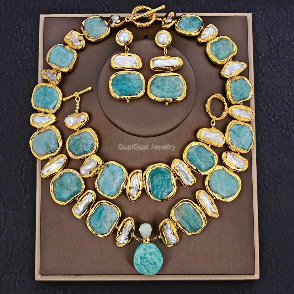 Gg jóias natural de água doce branco biwa pérola verde nugget amazonite gemas banhado a ouro pingente colar pulseira brincos conjuntos