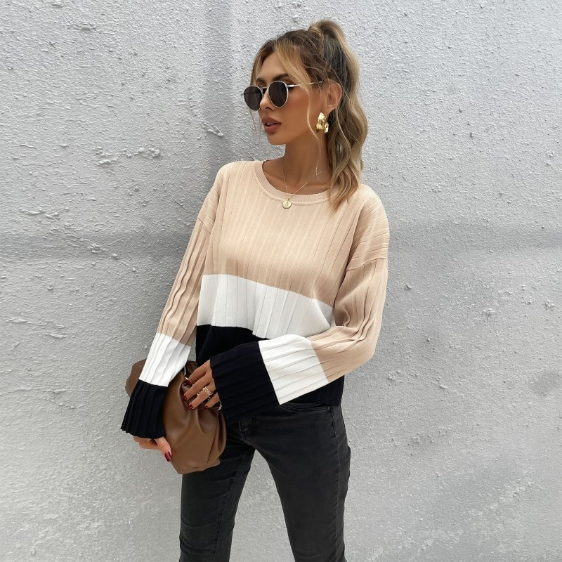 Autumn And Winter 2021 New Loose Color Matching Round Neck Long Sleeve Knitted Sweater Dresses For Women Casual Fashion Tops enlarge