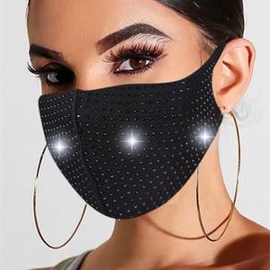 Luxury Printed Rhinestone Jewelry Hot Diamond Mask Statement Ladies Fashion Stretch Handmade Sticky Diamond Jewelry Mask