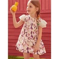 1 6y summer baby girls big hem a line dress toddler kids elegant white lace fly short sleeves floral printed ruffle zipper dress