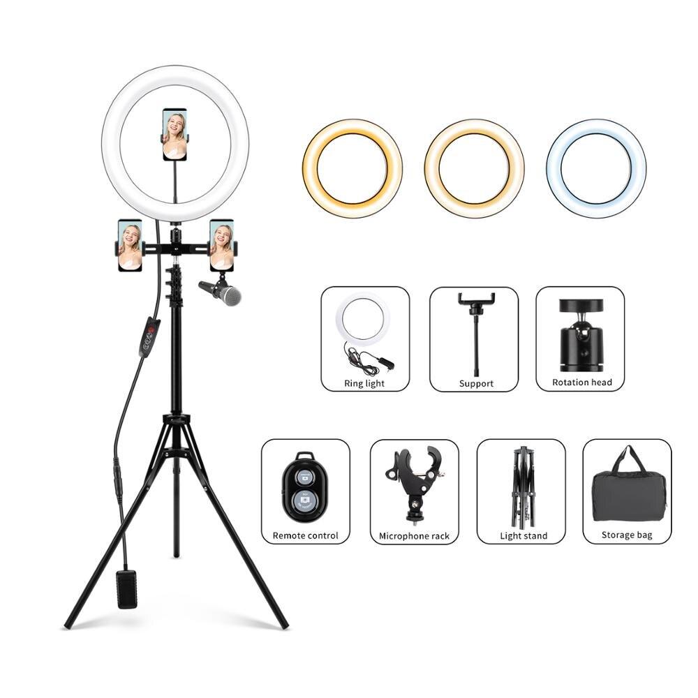Anillo de luz LED para Selfie con trípode/soporte para teléfono/bolsa de almacenamiento/Control remoto Bluetooth