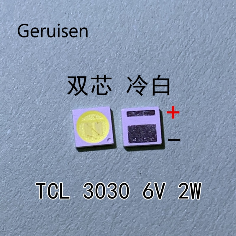 50PCS LED Hintergrundbeleuchtung TCL 2W 3030 6V Kühles weiß 80-90LM TV Anwendung neue PCT EMC led