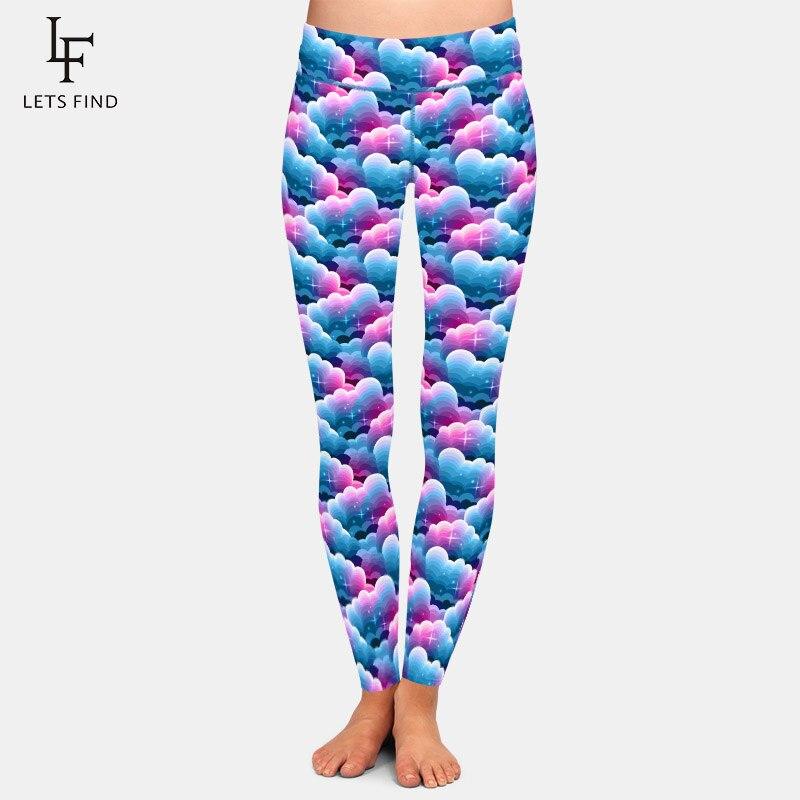 LETSFIND Лидер продаж 3D синие и фиолетовые градиентные облака со звездами принт размера плюс леггинсы Высокая талия женские мягкие тонкие брюк...