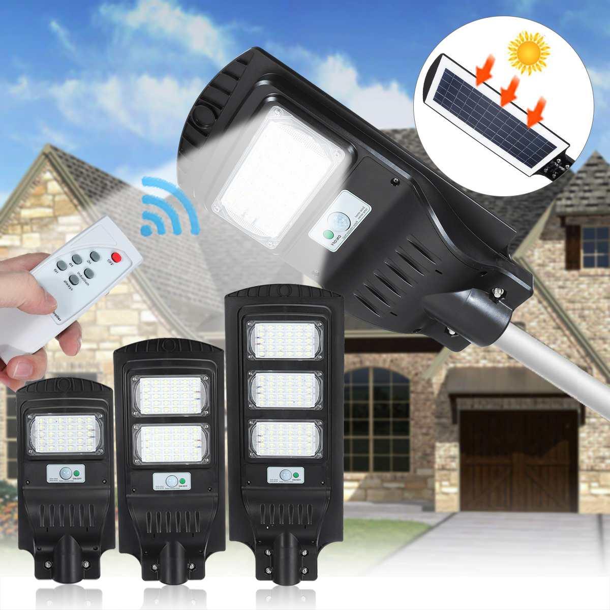 Lámpara de pared de iluminación para exteriores IP67 de 120W y 90 farola Solar LED, lámpara de inducción humana PIR + Radar de luz de movimiento para patio de jardín