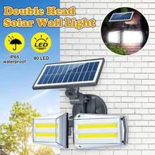 100W LED Dual Head Solar Lamp Radar Sensor COB Wall Light Spotlight Outdoors Solar Garden Light Yard LED Lamp Waterproof IP68