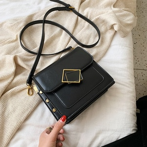 Solid Color PU Leather Small Crossbody Bags For Women 2021 Shoulder Simple Bag Lady Designer Lock Handbags and Purses bolsos