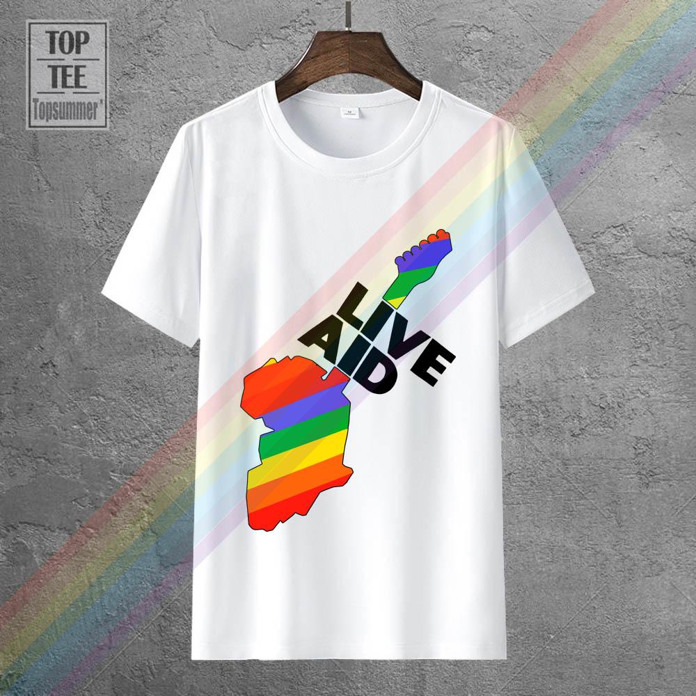 Мужские модные хлопковые футболки Vtg 80'S Live Aid 1985, Летние повседневные топы с коротким рукавом, белые Размеры S 3Xl