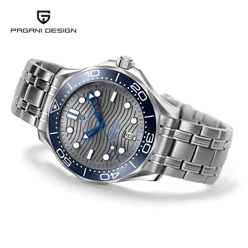 Pagani Design New 2021 Luxury Automatic Mechanical Wristwatch 200M Waterproof Full Steel 007 Men's watch Ceramic Bezel Clock men