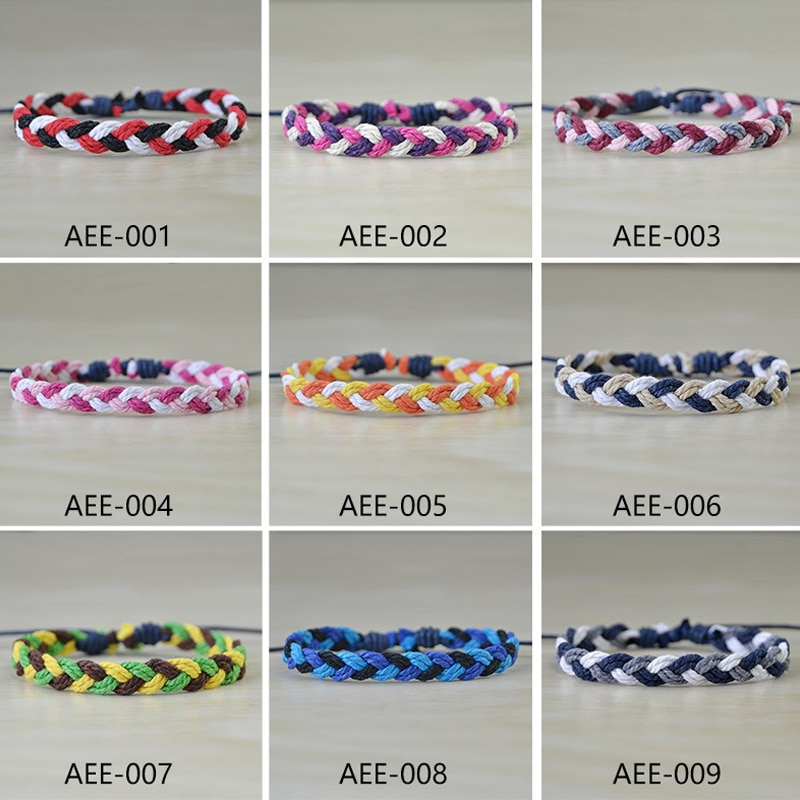 Nuevas pulseras de amistad trenzadas mixtas de colores para mujer, regalo de joyería, pulseras ajustables hechas a mano con cuerda para hombres