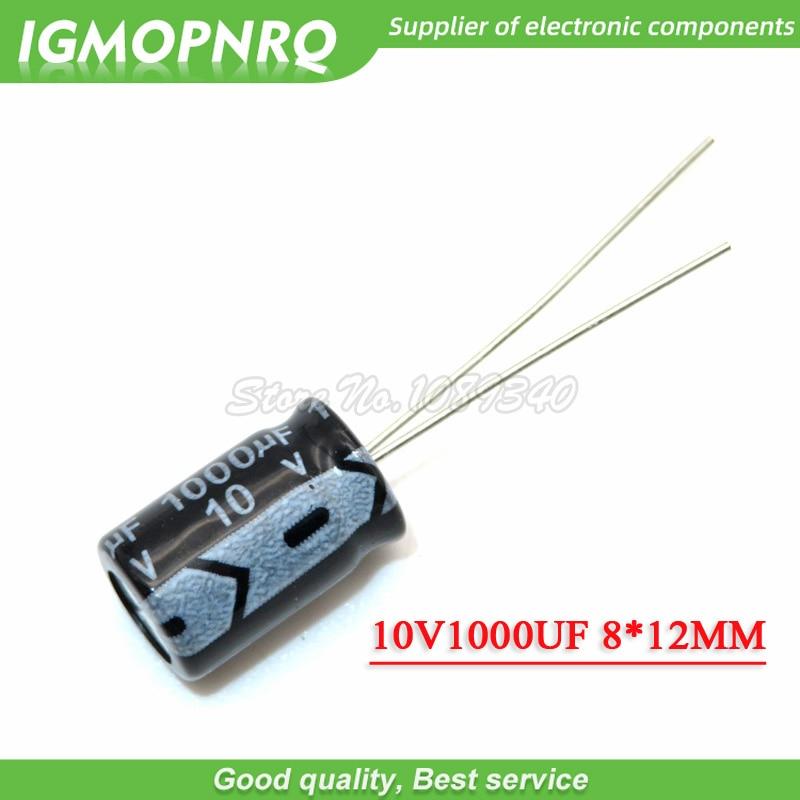50 pces 10v1000uf 8*12mm 1000 uf 10 v 8*12 capacitor eletrolítico de alumínio