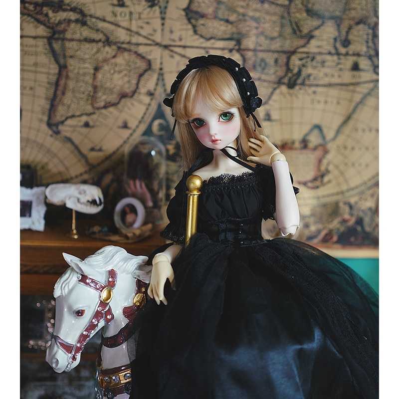 BJD dress 1/3 1/4 1/6 bjd doll Vintage tube black dress for 1/6 1/4 1/3 BJD SD doll accessories strapless Trailing skirts