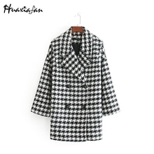 Huaxiafan 여성 재킷 가을 사무실 레이디 Houndstooth 우아한 재킷 노치 칼라 느슨한 겉옷 긴 소매 더블 브레스트