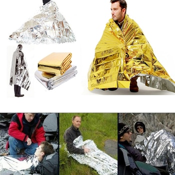 Outdoor Water Proof Emergency Survival Rescue Blanket Foil Thermal Space First Aid Sliver Rescue Curtain Military Blanket Tool