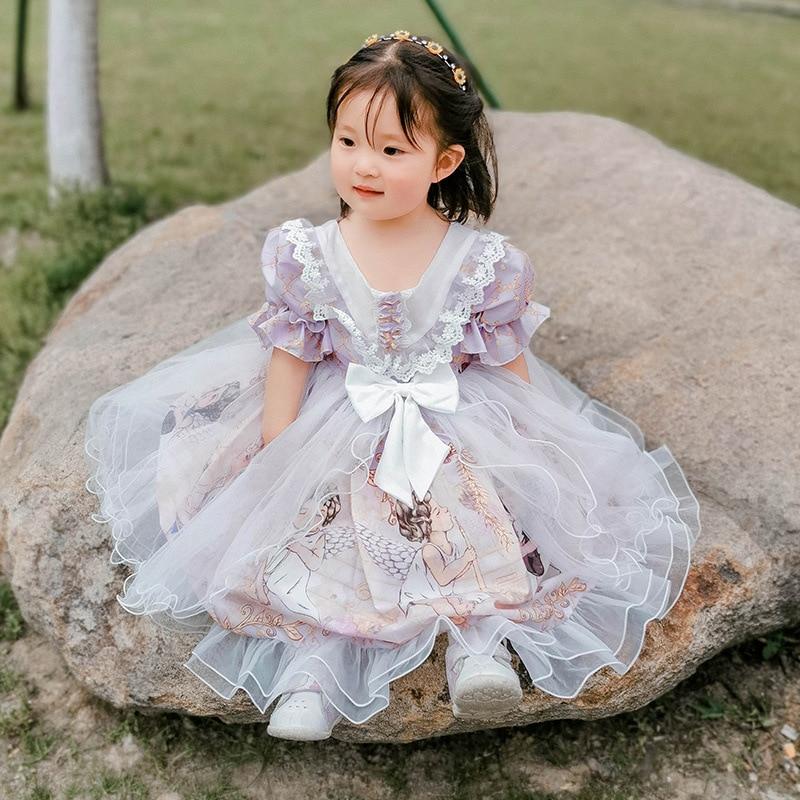 Niños Lolita mujer bebé verano vestido rojo niñas princesa vestido estilo occidental chica hilo esponjoso