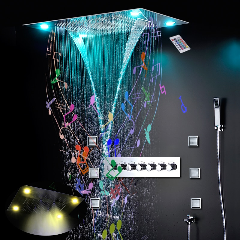 لوحة دش فاخرة مع موسيقى ، بلوتوث ، 600 × 800 مللي متر ، مع رذاذ المطر LED ، ثرموستاتي ، للحمام