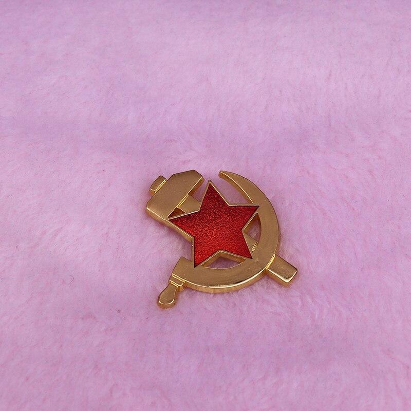 Vintage soviético pino estrela vermelha-martelo e foice broche comunista acessório