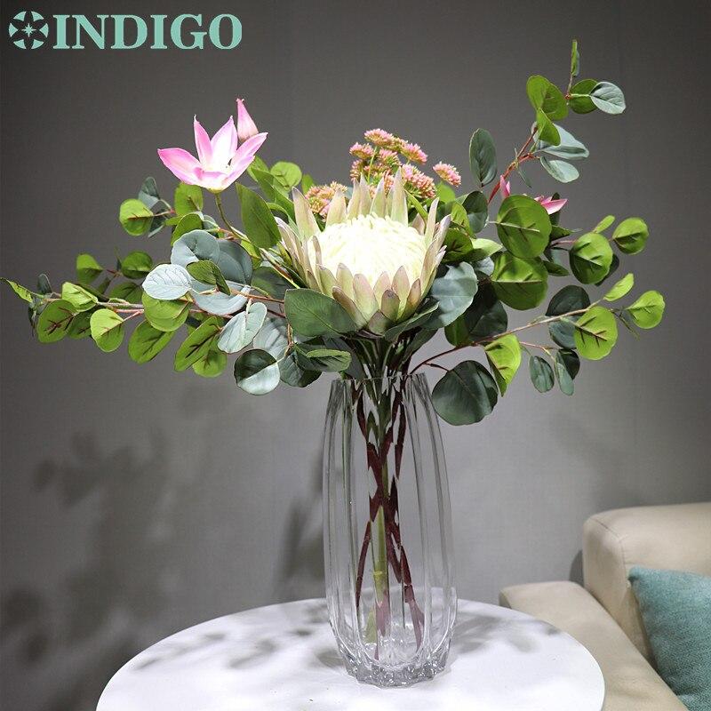 Indigo design-protea cynaroides clematis arranjo de flores de natal decoração de mesa de flores artificiais frete grátis