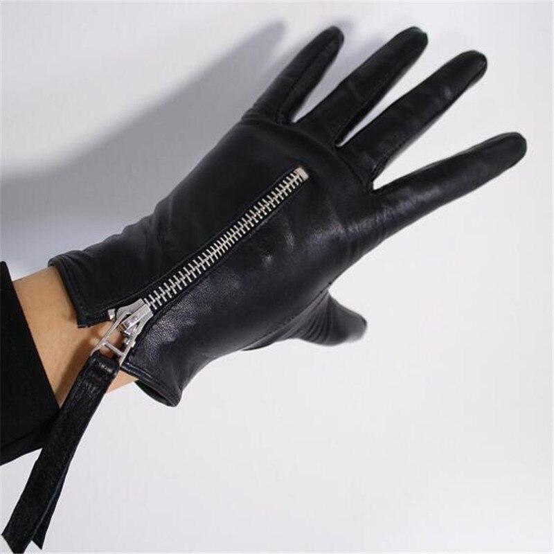 المرأة قفازات من جلد الغنم موضة المعادن سستة نمط أسود قفازات شاشة لمس الخريف والشتاء الدافئة