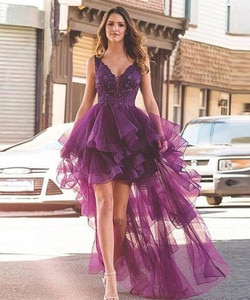 Vestidos De Cóctel Dress Lace V Neck High Low Tulle Prom Dresses Zipper Back Long Back Summer Bride Party Forma Gowns