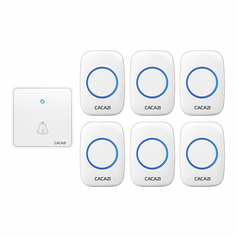 CACAZI Home Wireless Night Light Doorbell Waterproof 1 Transmitter 6 Receiver 0-110DB 60 Chimes CR20