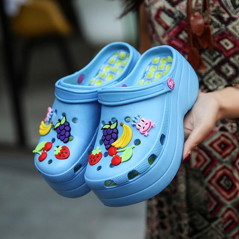 Summer Women Quick Dry Wedges Garden Shoes Beach Sandals Antiskid Home Slippers Thick Sole Flip Flops for Women