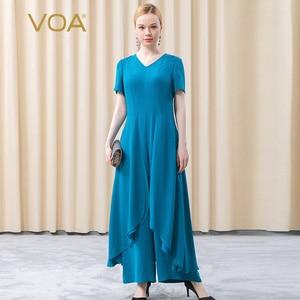 VOA Silk Heavy 30m/m Indigo Blue V-neck Short Sleeve Loose Waist Big Loose Leaf Splicing Personality Jumpsuit KE280