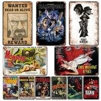 Affiche de films dhorreur Vintage  plaque en metal  Shabby Chic homme grotte  decor mural  signe en etain retro cinema  autocollants Plaques de Bar de maison