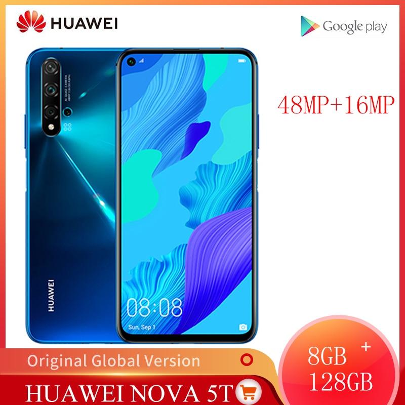 Глобальная версия Huawei Nova 5T 8GB 128GB смартфон 48MP камеры 32MP фронтальная камера мобильный телефон 6,26 экран Kirin 980 Android 9