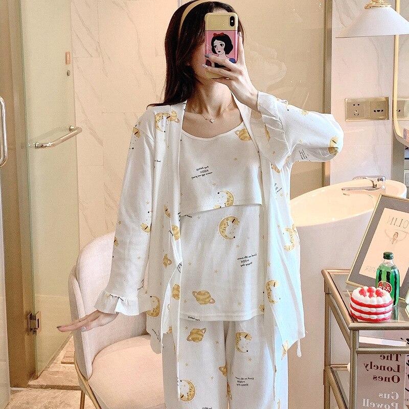 3PCS/Set Printed Cotton Maternity Nursing Pajamas Spring Autumn Breastfeeding Sleepwear Clothes for Pregnant Women Pregnancy Set