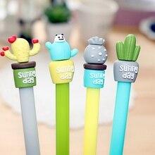 2 pc/lot créatif Cactus en pot Gel encre stylo eau Singed stylo mignon papeterie enfants cadeau école bureau fournisseur