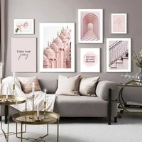 pink style girl room decor art print painting archway hawa mahal palace hd posters rose grape flower living room decor pictures