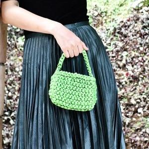 19x13CM  Fluorescent Color Satin Woven Bag Mini Hand-opened Bag Rope Knot Handbag a5940