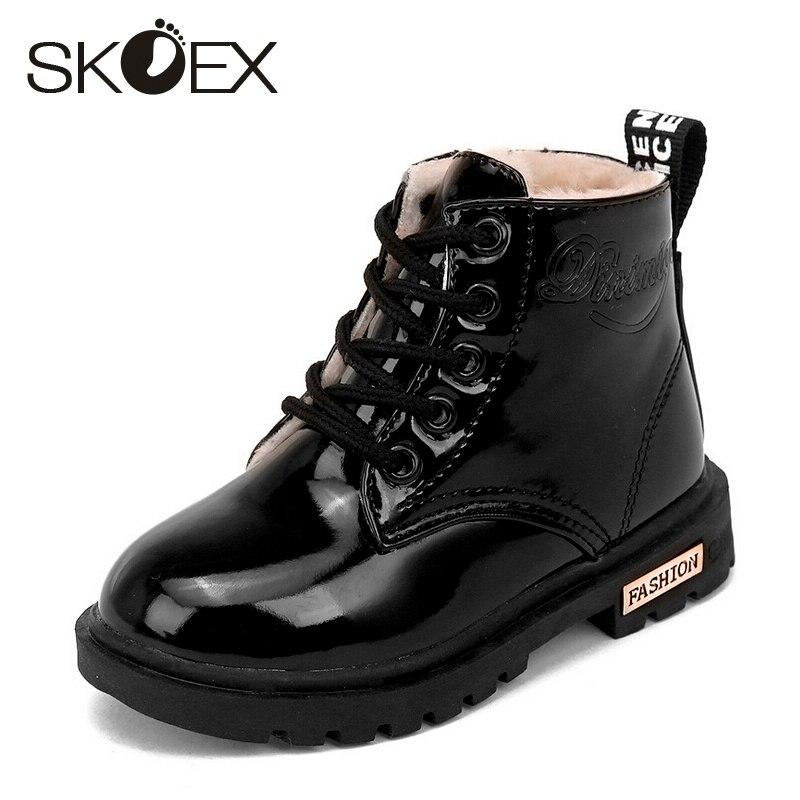Skoex botas para niños botines para chicas invierno niños Martin Zapatos Niño botines cortos impermeable PU moda infantil zapatillas