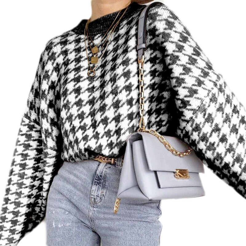 Women Long Sleeve O-Neck Sweater Geometric Houndstooth Knit Loose Jumper Tops enlarge