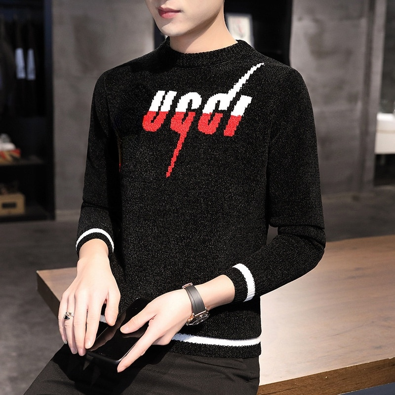 2021 Autumn and Winter High-end New Men's Fashion Simple Sweater Youth Slim Knit Sweater Men's Top,