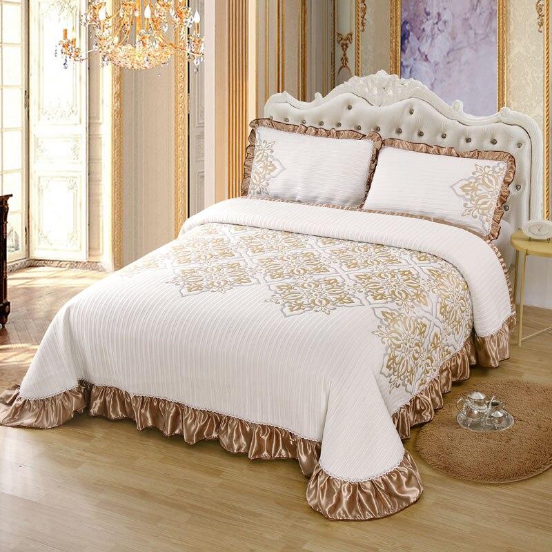 الفاخرة لينة محبوك القطن كشكش تنورة نوم المفرش غطاء مزدوج طقم ملاءة سرير بطانية أغطية سرير سادات المنسوجات المنزلية