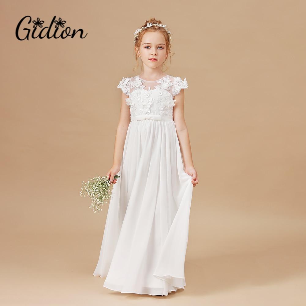 فساتين فتاة الزهور زين بلا أكمام للأطفال حفلة عيد ميلاد فساتين حفلات الزفاف الأولى بالتواصل ثوب أنيق 2-14T