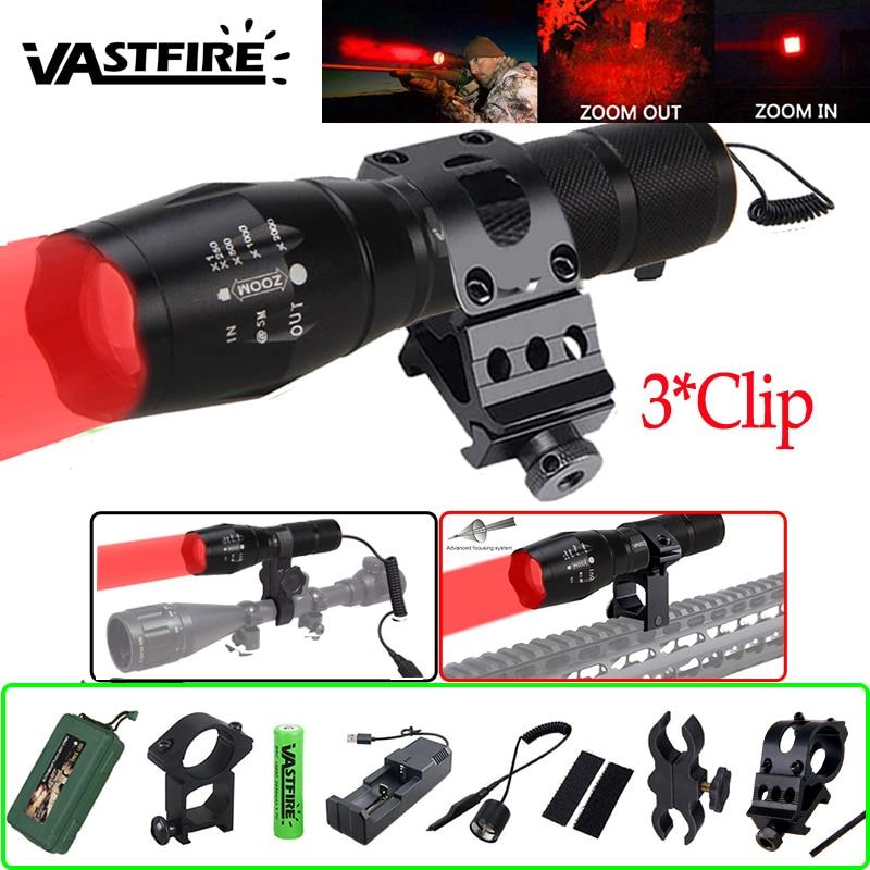 A100 Q5 LED زوومابلي الأحمر مضيا بندقية نطاق سلاح بندقية ضوء التكتيكية 5000lm الصيد جبل كليب فانوس كشاف العسكرية الخفيفة