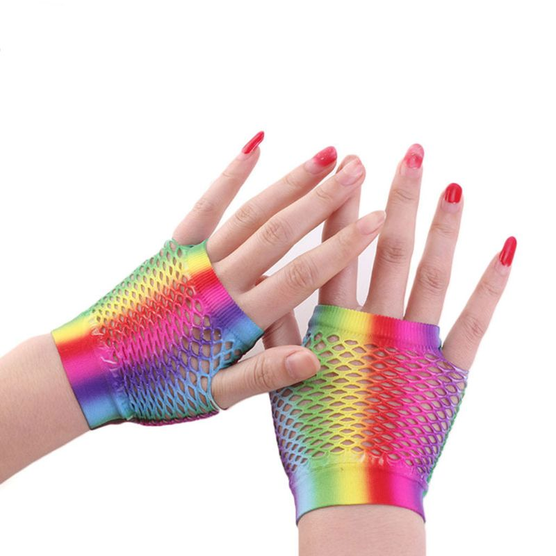Fashion Lady Women Color Fishing Net Short Gloves Dress Bride Bridesmaid Half Finger Glove Party Dec