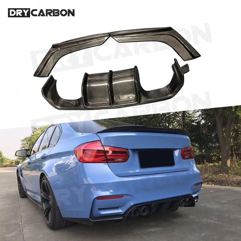 3 قطعة طقم جسم من ألياف الكربون مانع صدمات خلفي للسيارة الناشر الشفة سبويلر لسيارات BMW V Style 3 4 serise F80 M3 F82 F83 M4 2014-2017