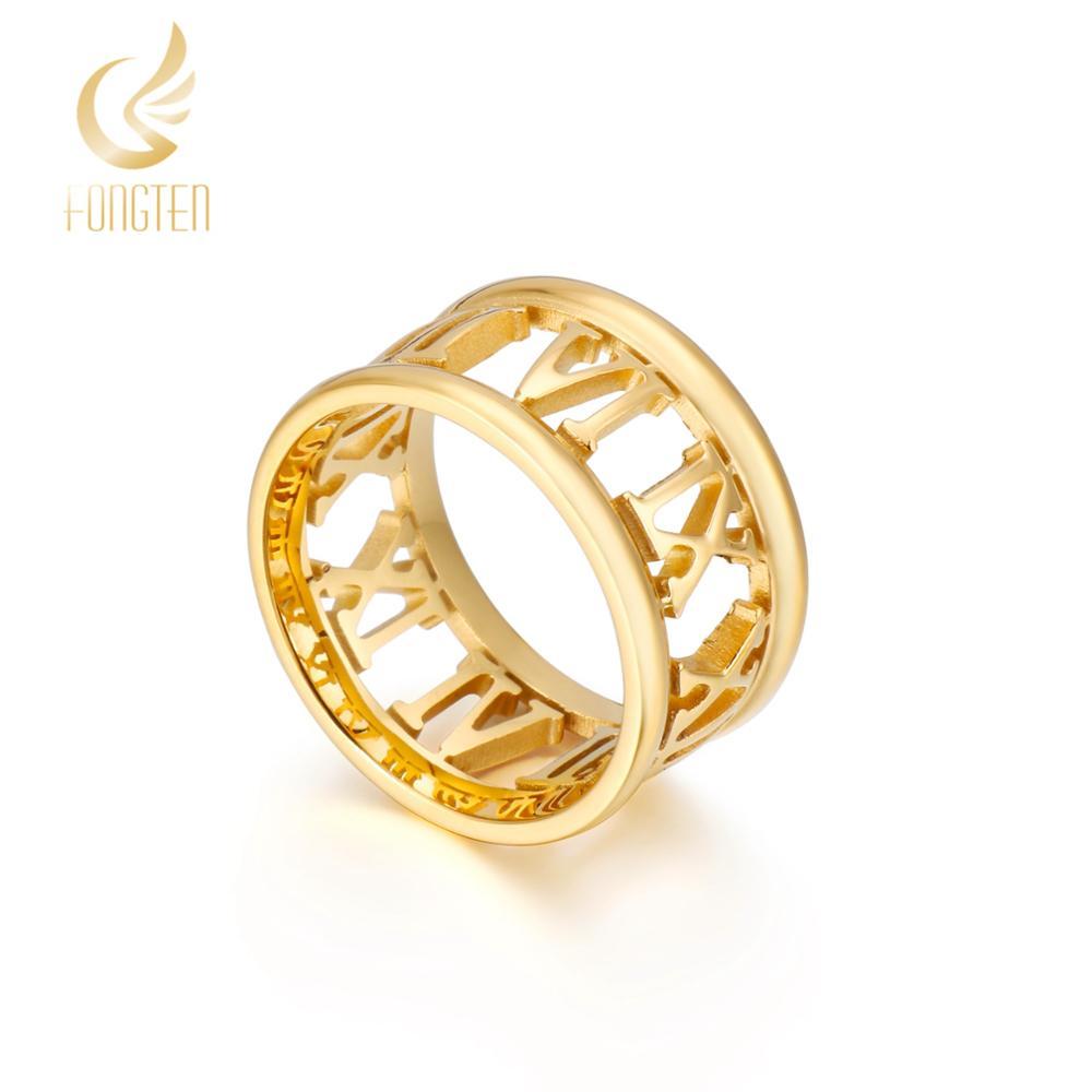 Titânio numerais romanos anel masculino feminino