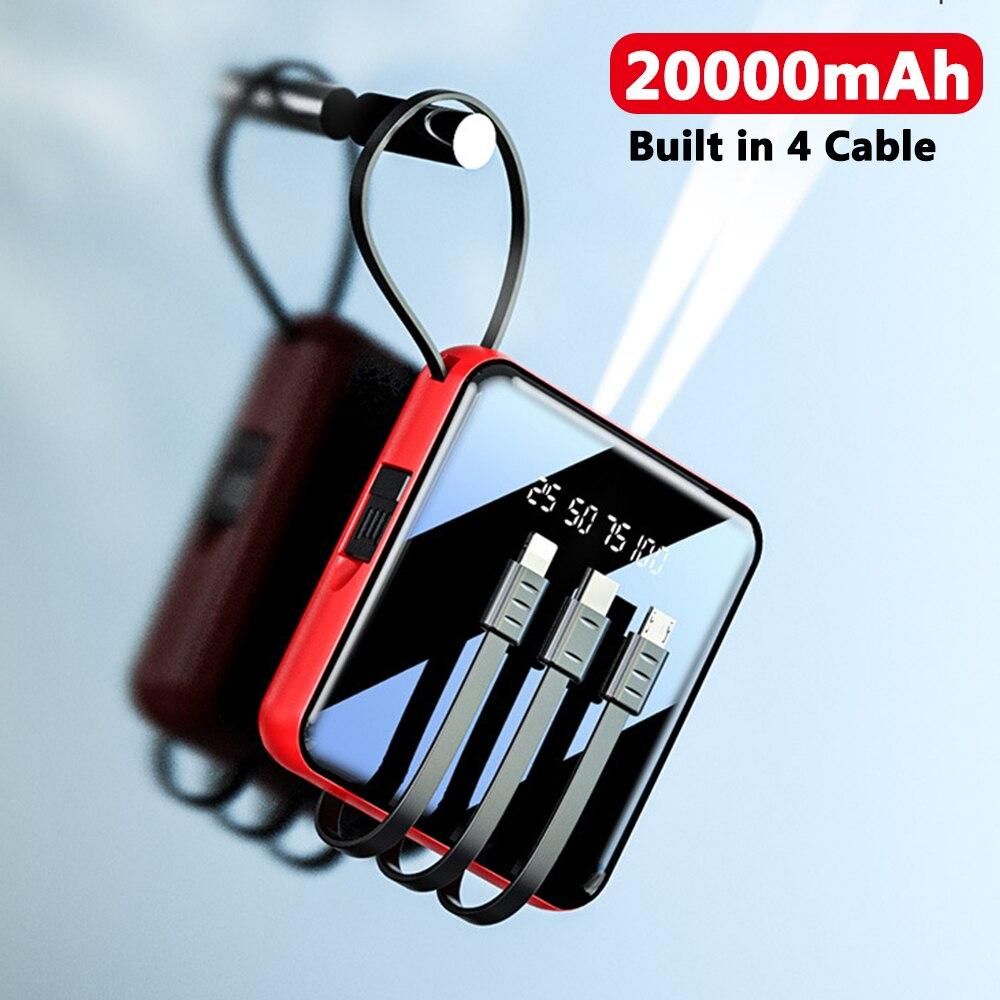 CASEIER 20000mAh باور بانك صغير مع كابل باور بانك LED مصباح يدوي عرض الطاقة المحمولة شاحن شحن سريع ل شاومي