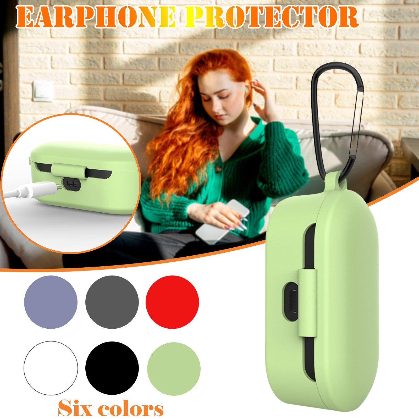 Capa protetora de silicone para fones de ouvido, capa de proteção de silicone com fivela anti-perda para QCY-T1 qs2 airdots